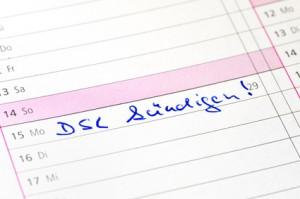 """Eintrag in einem Kalender """"DSL kündigen"""" / Entry in a calendar """"DSL terminate"""""""
